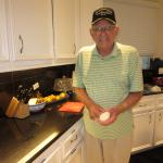 We love this guy!  Meet Mr. H.  A WWII veteran...and a cook.  While Mr. H has meals provided, he enjoys cooking.  So, when he wants to cook, he cooks!  On his menu: Ribs!
