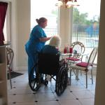 Whatever your needs, our staff is here to help.  Ms. D enjoys her  breakfast with a pool view.